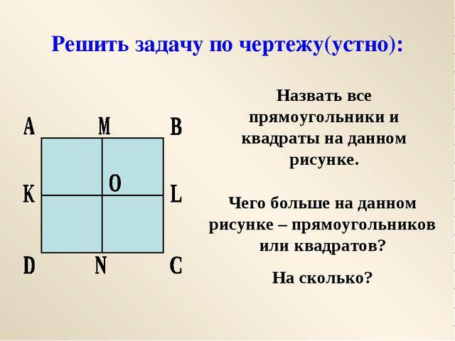 Решить задачу по чертежу(устно): Назвать все прямоугольники и квадраты на дан...
