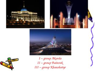 I – group Akorda II – group Baiterek III – group Khanshatyr