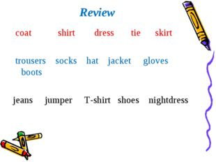 Review coat shirt dress tie skirt trousers socks hat jacket gloves boots jean