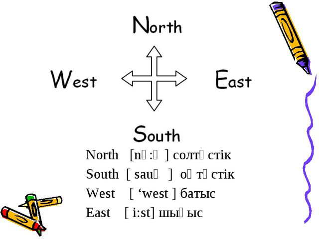 North   [nᴐ:Ө] солтүстік South  [ sauӨ ]  оңтүстік West    [ 'west ] батыс Ea...