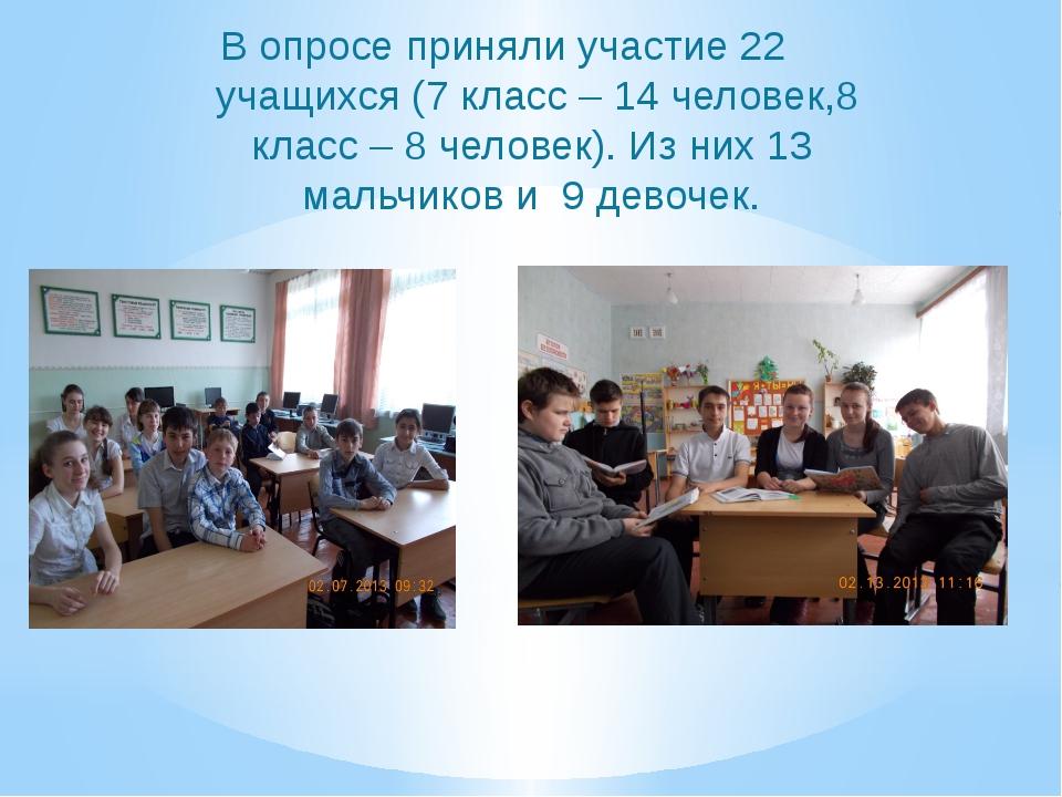 В опросе приняли участие 22 учащихся (7 класс – 14 человек,8 класс – 8 челове...