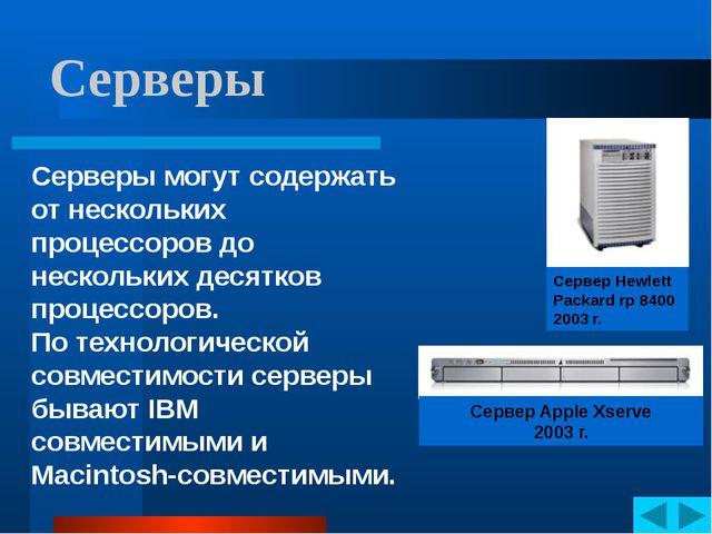 Серверы Серверы могут содержать от нескольких процессоров до нескольких десят...