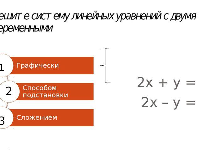 Решите систему линейных уравнений с двумя переменными 2х + у = 8 2х – у = 0 1...