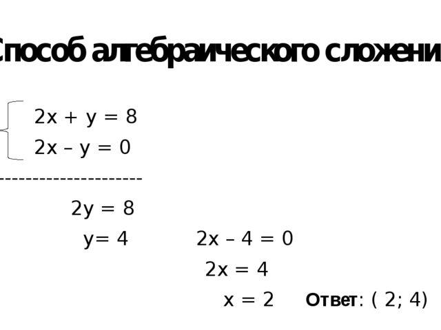 Способ алгебраического сложения 2х + у = 8 2х – у = 0 --------------------- 2...
