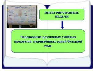 ИНТЕГРИРОВАННЫЕ НЕДЕЛИ Чередование различных учебных предметов, подчинённых о