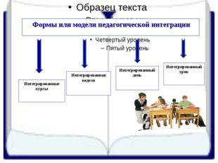 Формы или модели педагогической интеграции  Интегрированные курсы  Интегри