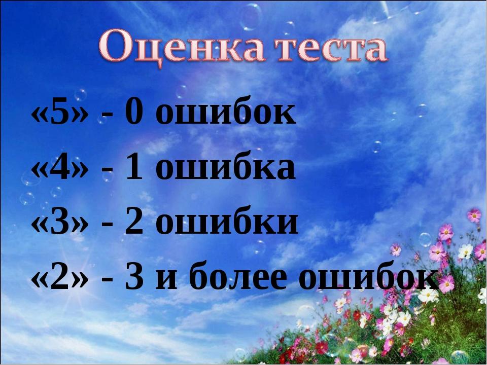 «5» - 0 ошибок «4» - 1 ошибка «3» - 2 ошибки «2» - 3 и более ошибок
