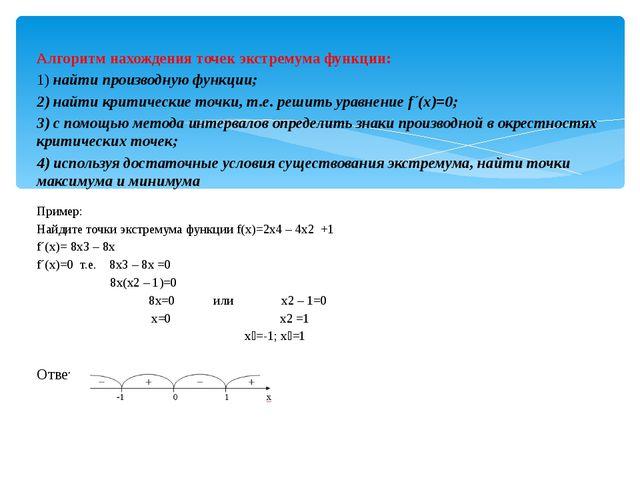Алгоритм нахождения точек экстремума функции: 1) найти производную функции; 2...