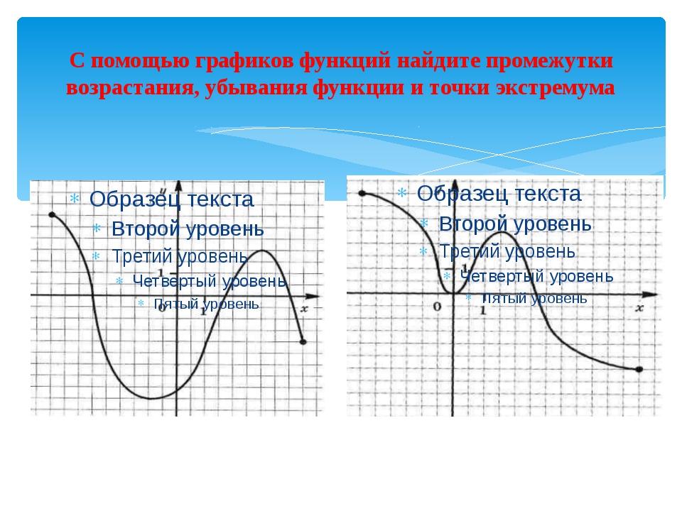 С помощью графиков функций найдите промежутки возрастания, убывания функции и...