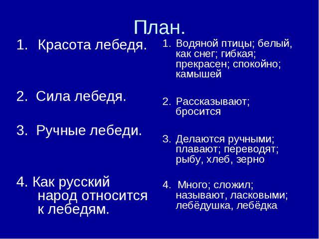 План. Красота лебедя. 2. Сила лебедя. 3. Ручные лебеди. 4. Как русский народ...