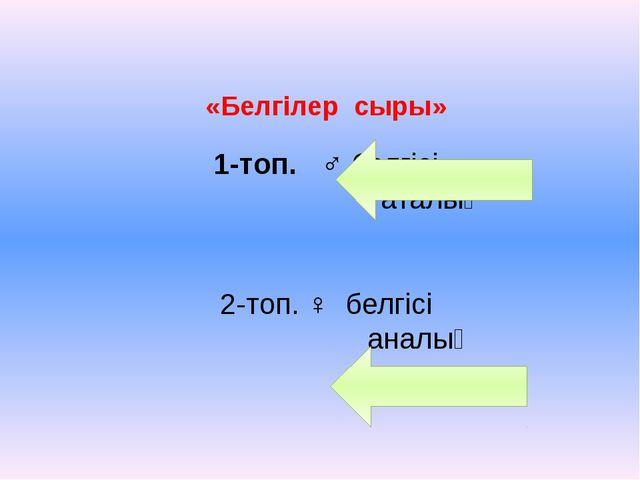 «Белгілер сыры» 1-топ. ♂ белгісі аталық 2-топ. ♀ белгісі аналық
