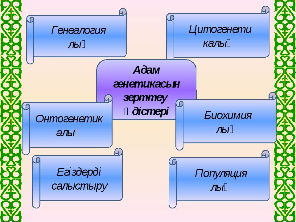 Генеалогия лық Цитогенети калық Адам генетикасын зерттеу әдістері Егіздерді...