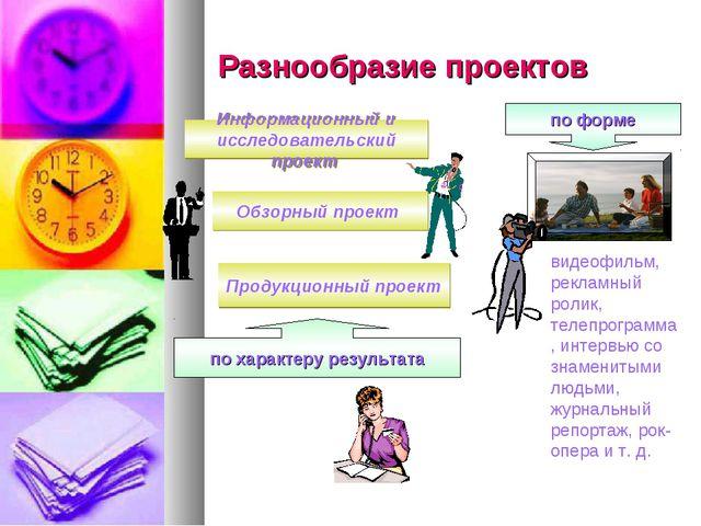 Разнообразие проектов Обзорный проект Информационный и исследовательский прое...