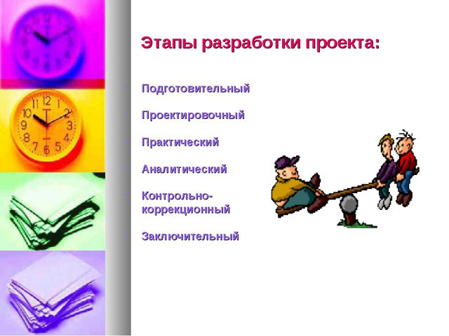 Этапы разработки проекта: Подготовительный Проектировочный Практический Анал...