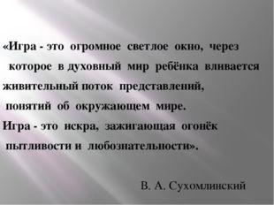 «Игра - это огромное светлое окно, через  которое вдуховный мир реб
