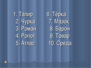 1. Тапир 6. Тёрка 2. Чурка 7. Мазок 3. Роман 8. Барон 4. Ропот 9. Товар 5. А