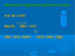Механизм гидролиза карбоната натрия H2O H+ + OH- Na2CO3  2Na+ + CO32- 2Na+