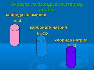Окраска лакмоида в растворах солей: хлорида алюминия AlCl3 карбоната натрия N