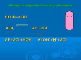 Механизм гидролиза хлорида алюминия H2O H+ + OH- AlCl3  Al3+ + 3Cl- Al3+ +3