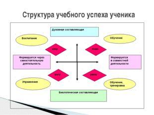 Структура учебного успеха ученика Духовная составляющая Биологическая составл