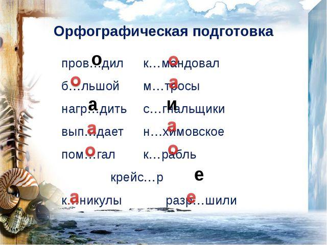 Орфографическая подготовка
