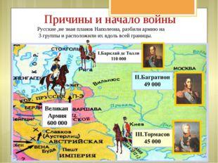 Причины и начало войны Русские ,не зная планов Наполеона, разбили армию на 3