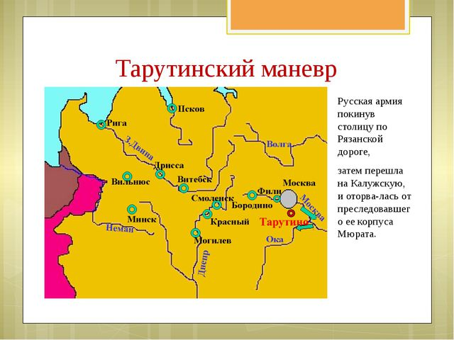 Русская армия покинув столицу по Рязанской дороге, затем перешла на Калужскую...