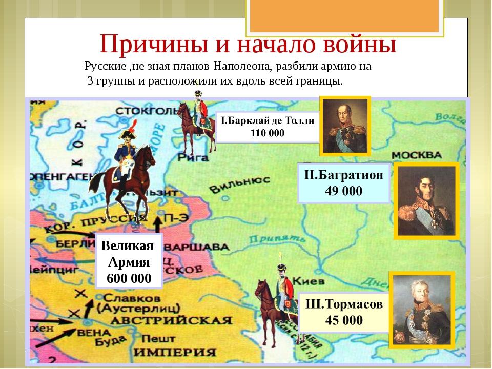 Причины и начало войны Русские ,не зная планов Наполеона, разбили армию на 3...