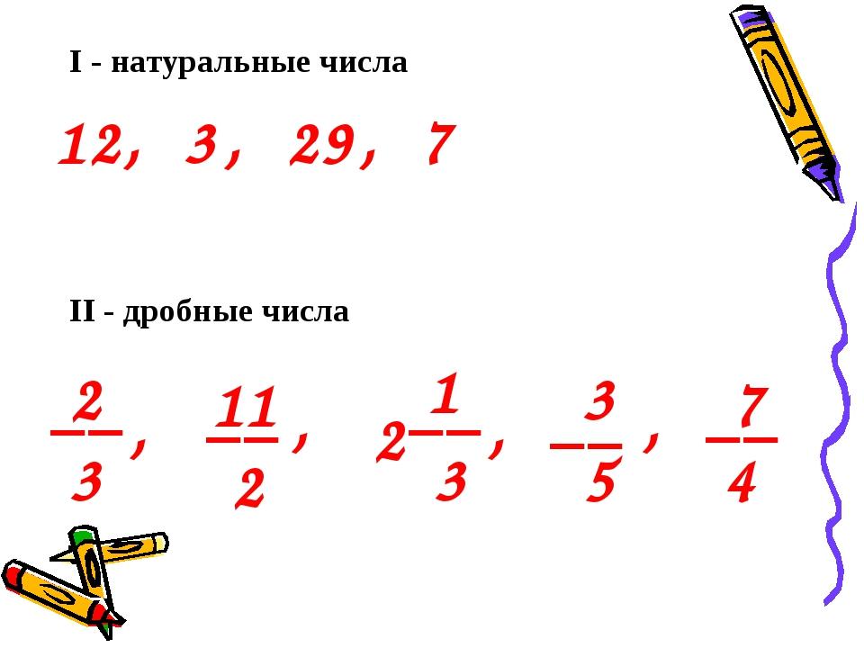 I - натуральные числа 12, 3 , 29 , 7 2 3 11 2 __ __ , , 2 1 3 __ , 3 5 __ , 7...