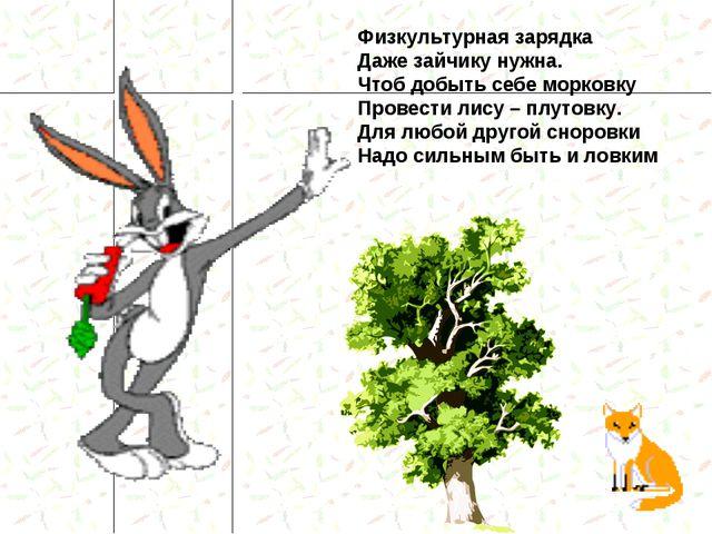 Физкультурная зарядка Даже зайчику нужна. Чтоб добыть себе морковку Провести...