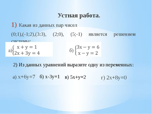 Устная работа. Какая из данных пар чисел (0;1),(-1;2),(3:3), (2;0), (5;-1) яв...