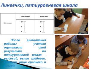 После выполнения работы ученики оценивают свой результат по пятиуровневой шк