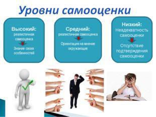 Высокий: реалистичная самооценка Знание своих особенностей Средний: реалистич