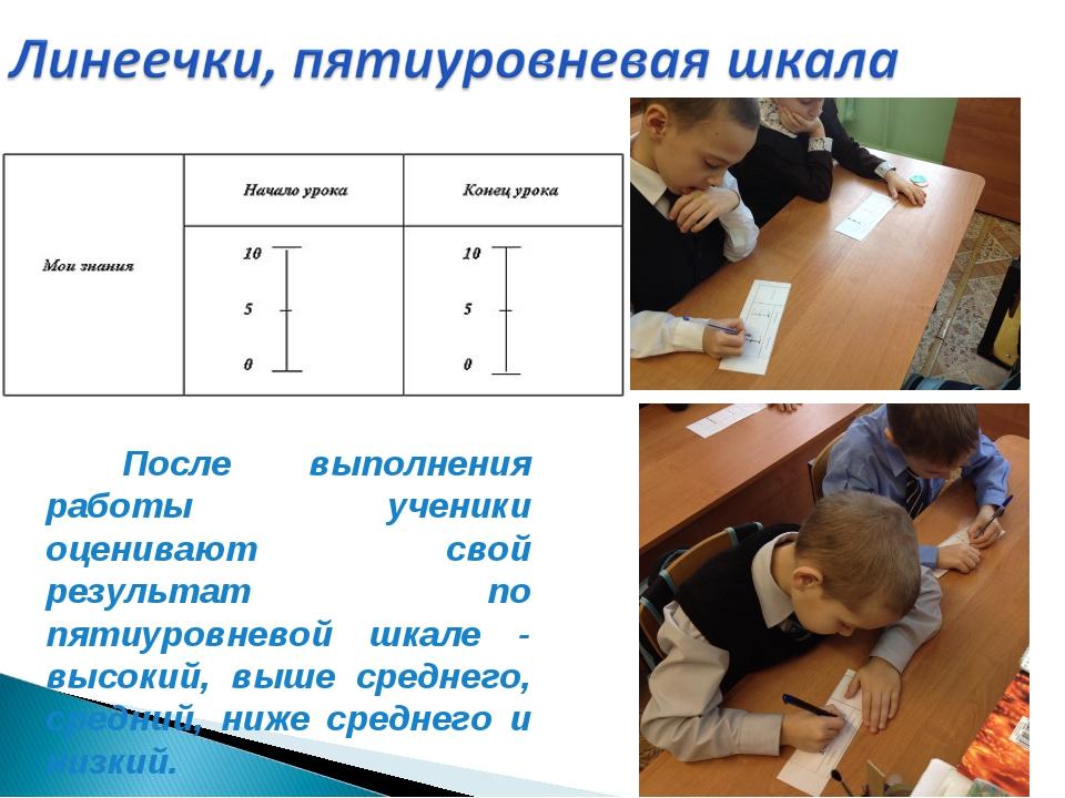 После выполнения работы ученики оценивают свой результат по пятиуровневой шк...