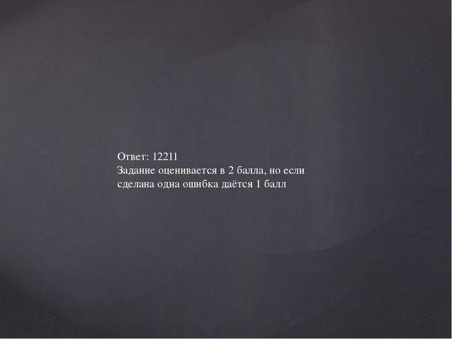 Ответ: 12211 Задание оценивается в 2 балла, но если сделана одна ошибка даётс...