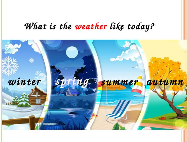 stormy sunny windy In summer rainy In winter the weather is snowy Inautumn f...