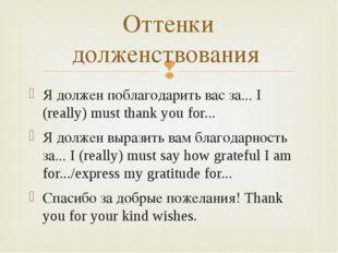Я должен поблагодарить вас за... I (really) must thank you for... Я должен вы