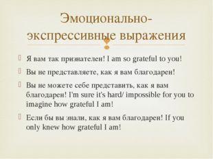 Я вам так признателен! I am so grateful to you! Вы не представляете, как я ва