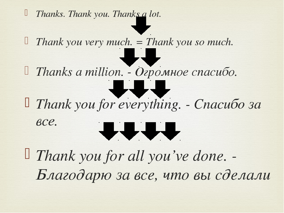Thanks. Thank you. Thanks a lot. Thank you very much. = Thank you so much. Th...