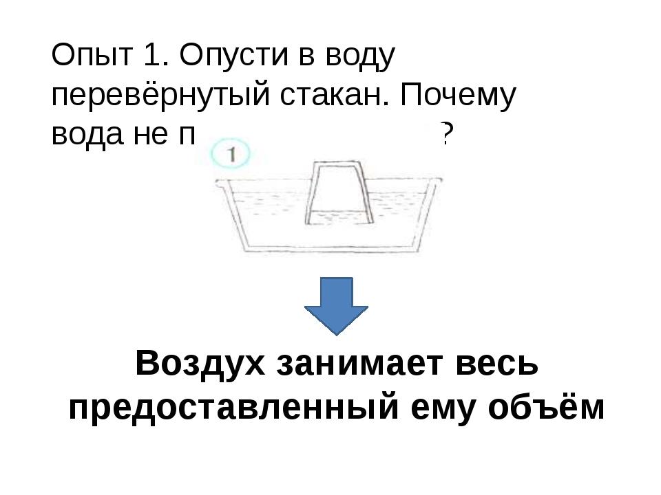 Опыт 1. Опусти в воду перевёрнутый стакан. Почему вода не поднялась выше? Воз...