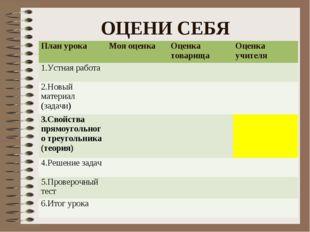 ОЦЕНИ СЕБЯ  План урокаМоя оценкаОценка товарищаОценка учителя 1.Устная ра