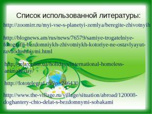 Список использованной литературы: http://zoomirr.ru/myi-vse-s-planetyi-zemlya