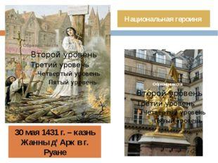 30 мая 1431 г. – казнь Жанны д' Арк в г. Руане Национальная героиня