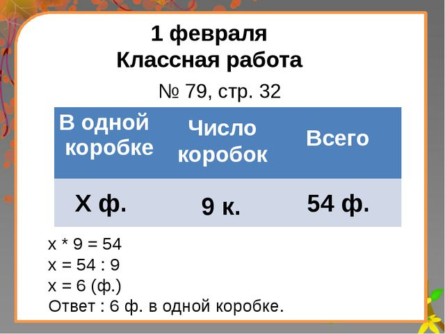 Заголовок слайда 1 февраля Классная работа Число коробок Всего Х ф. 9 к. 54 ф...