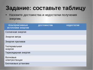 Задание: составьте таблицу Назовите достоинства и недостатки получения энерги