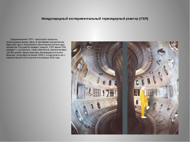 Международный экспериментальный термоядерный реактор (ITER) Предназначение IT...