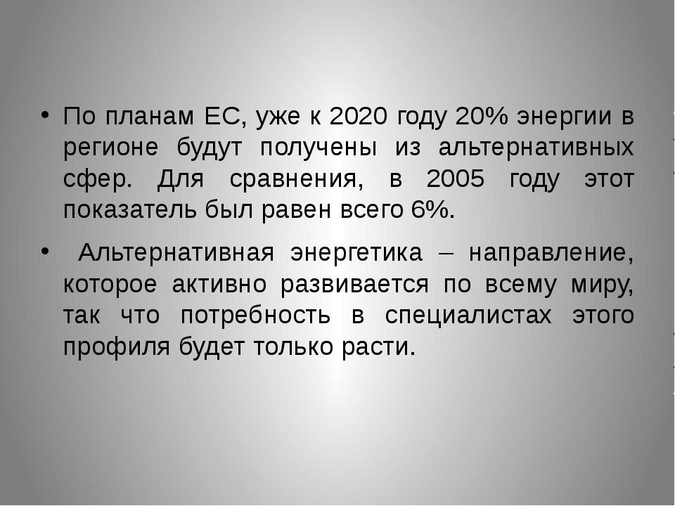 По планам ЕС, уже к 2020 году 20% энергии в регионе будут получены из альтер...