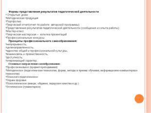 Формы представления результатов педагогической деятельности Открытые уроки М