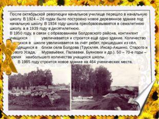 После октябрьской революции начальное училище перешло в начальную школу. В 19