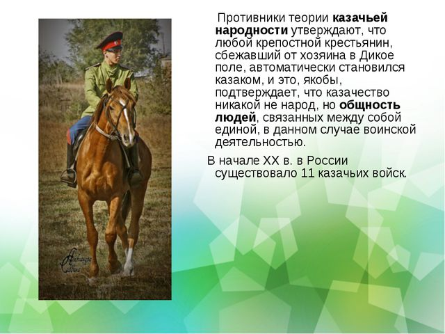 Противники теории казачьей народности утверждают, что любой крепостной крест...